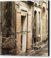 Ghost Harley On Narrow Street Canvas Print by Gary Gunderson