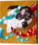 Gift Wrapped Kitty Canvas Print