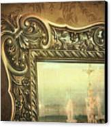 Gilded Mirror Reflection Of Chandelier Canvas Print