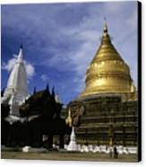 Gilded Stupa Of The Shwezigon Pagoda Canvas Print by Sami Sarkis