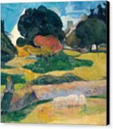 Girl Herding Pigs Canvas Print by Paul Gauguin