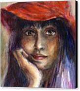 Girl In A Red Hat Portrait Canvas Print by Svetlana Novikova