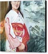 Girl In Kimono Canvas Print