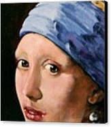 Girl With A Pearl Earring A Reproduction Of Vermeer Canvas Print by Joan Garcia