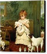 Girl With Dogs Canvas Print by Charles Burton Barber