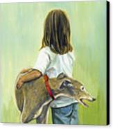 Girl With Greyhound Canvas Print