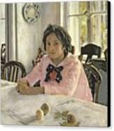 Girl With Peaches Canvas Print by Valentin Aleksandrovich Serov
