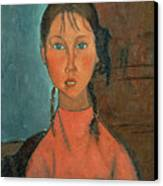 Girl With Pigtails Canvas Print by Amedeo Modigliani