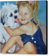 Girl With Puppy Canvas Print by Joni McPherson
