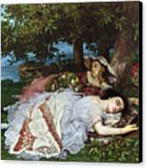 Girls On The Banks Of The Seine Canvas Print