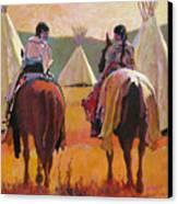 Girls Riding Canvas Print