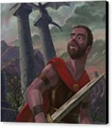Gladiator Warrior With Monster On Pillar Canvas Print by Martin Davey