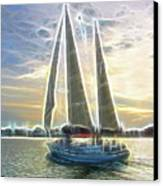 Glimmering Sailboat Canvas Print by Ella Char