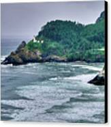 Gloomy Heceta Lighthouse  Canvas Print by Connie Cooper-Edwards