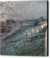 Glowing Raindrops In The City Canvas Print