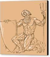 God Neptune Or Poseidon Canvas Print by Aloysius Patrimonio