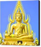 Gold Buddha Statue Canvas Print by Somchai Suppalertporn