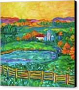 Golden Farm Scene Sketch Canvas Print