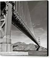 Golden Gate From The Water - Bw Canvas Print by Darcy Michaelchuk