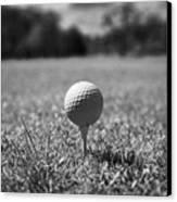 Golf Ball On The Tee Canvas Print by Joe Fox