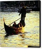 Gondola Ride At Sunset In Venice Canvas Print