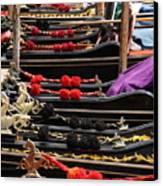 Gondolas Parked In Venice Canvas Print