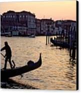 Gondolier In Venice In Silhouette Canvas Print