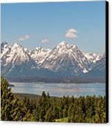 Grand Tetons Over Jackson Lake Panorama Canvas Print by Brian Harig