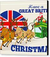 Great British Christmas Santa Reindeer Doube Decker Bus Canvas Print