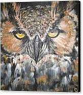 Great Hornet Owl Canvas Print by Sandra Peyrolle