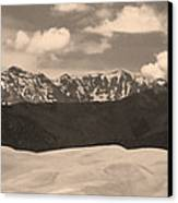 Great Sand Dunes Panorama 1 Sepia Canvas Print