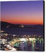 Greece Mykonos Harbor. Dusk Canvas Print