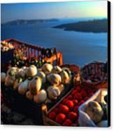 Greek Food At Santorini Canvas Print