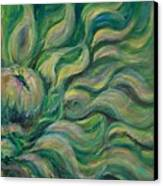 Green Flowing Flower Canvas Print