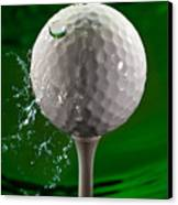 Green Golf Ball Splash Canvas Print by Steve Gadomski