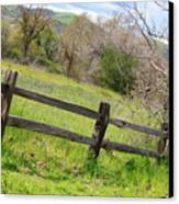 Green Hills And Rustic Fence Canvas Print