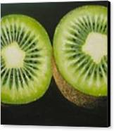 Green Kiwi Oil Painting  Canvas Print by Natalja Picugina