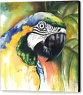 Green Parrot Canvas Print by Anthony Burks Sr