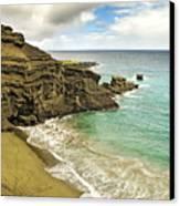 Green Sand Beach On Hawaii Canvas Print by Brendan Reals