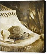 Grunge Photo Of Hammock And Book Canvas Print by Sandra Cunningham