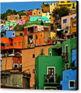 Guanajuato Hillside 1 Canvas Print by Mexicolors Art Photography
