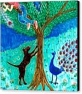 Guard Dog And Guard Peacock  Canvas Print