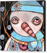 Haaaa Its Snowing Canvas Print by  Abril Andrade Griffith
