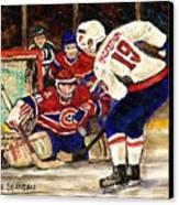 Halak Blocks Backstrom In Stanley Cup Playoffs 2010 Canvas Print by Carole Spandau