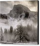 Half Dome In Winter Canvas Print by Connie Cooper-Edwards