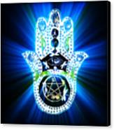 Hamsa Hand Indigo Energy Canvas Print by Eva Thomas
