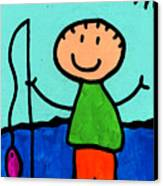 Happi Arte 2 - Boy Fish Art Canvas Print by Sharon Cummings
