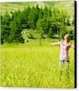Happy Girl Enjoying Nature Canvas Print