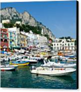Harbor Of Isle Of Capri Canvas Print by Jon Berghoff