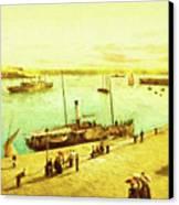Harbour Parasols Canvas Print by Sarah Vernon